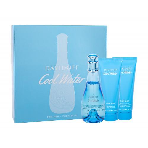 Davidoff Cool Water Woman darčeková kazeta pre ženy toaletná voda 100 ml + telové mlieko 75 ml + sprchovací gél 75 ml