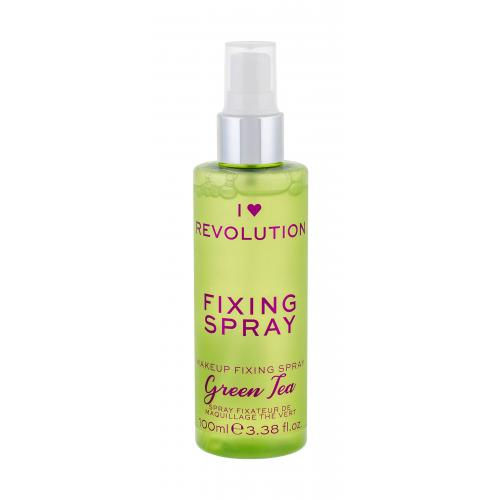 Makeup Revolution London I Heart Revolution Fixing Spray Green Tea 100 ml fixačný sprej na make-up s vôňou zeleného čaju pre ženy