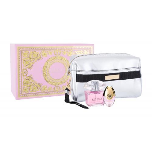 Versace Bright Crystal darčeková kazeta pre ženy toaletná voda 90 ml + toaletná voda 10 ml + kozmetická taška
