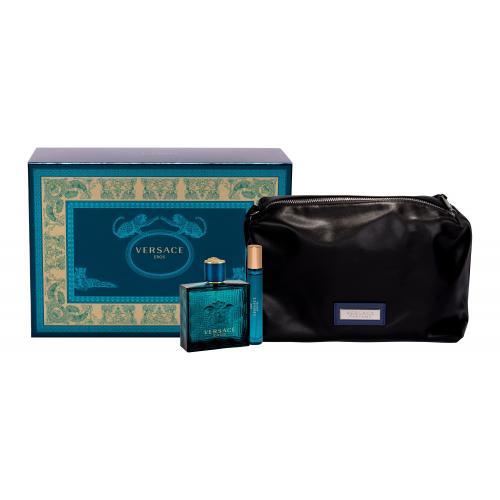 Versace Eros darčeková kazeta pre mužov toaletná voda 100 ml + toaletná voda 10 ml + kozmetická taška