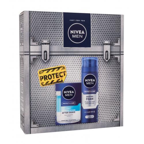 Nivea Men Protect & Care darčeková kazeta pre mužov ošetrujúca voda po holení 2v1 100 ml + pena na holenie 200 ml