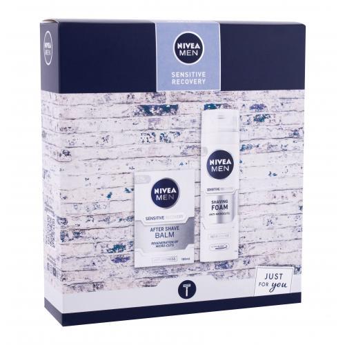 Nivea Men Sensitive Recovery darčeková kazeta pre mužov balzam po holení 100 ml + pena na holenie 200 ml