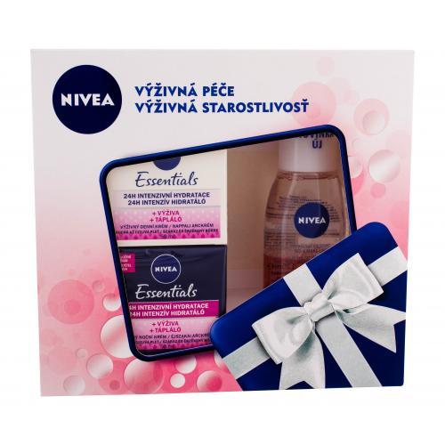 Nivea Essentials darčeková kazeta pre ženy výživný denný krém 50 ml + výživný nočný krém 50 ml + dvojfázový odličovací prípravok 125 ml