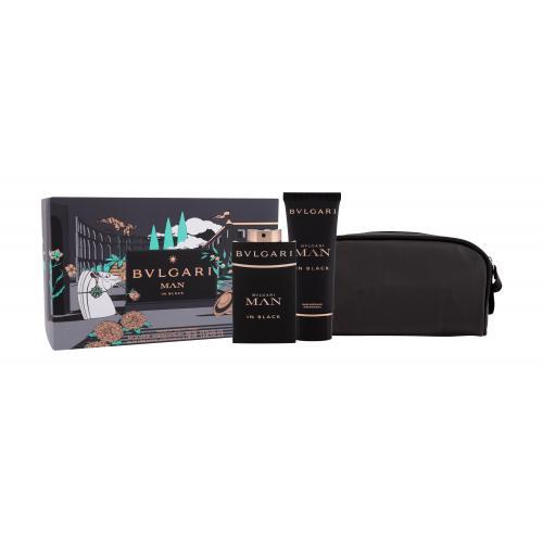 Bvlgari Man In Black darčeková kazeta pre mužov parfumovaná voda 100 ml + balzam po holení 100 ml + kozmetická taška