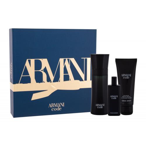 Giorgio Armani Armani Code Pour Homme darčeková kazeta pre mužov toaletná voda 75 ml + toaletná voda 15 ml + sprchovací gél 75 ml