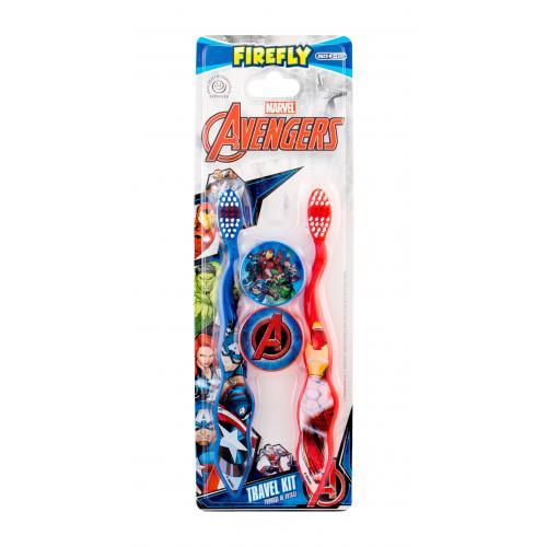 Marvel Avengers Toothbrush darčeková kazeta pre deti zubná kefka 2 ks + púzdro 2 ks
