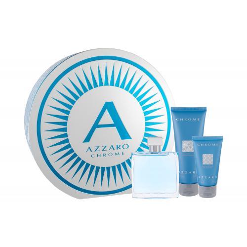 Azzaro Chrome darčeková kazeta pre mužov toaletná voda 100 ml + balzam po holení 50 ml + sprchovací gél 100 ml