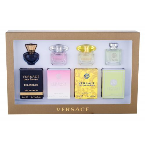 Versace Mini Set 1 pre ženy edt Versense 5 ml + edt Yellow Diamond 5 ml + edt Bright Crystal 5 ml + edp Dylan Blue 5 ml miniatura
