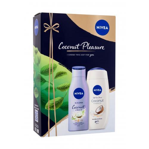 Nivea Coconut Pleasure darčeková kazeta pre ženy sprchovací krém 250 ml + telové mlieko Coconut & Monoi Oil 200 ml