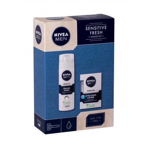 Nivea Men Sensitive poškodená krabička pre mužov voda po holení 100 ml + pena na holenie 200 ml