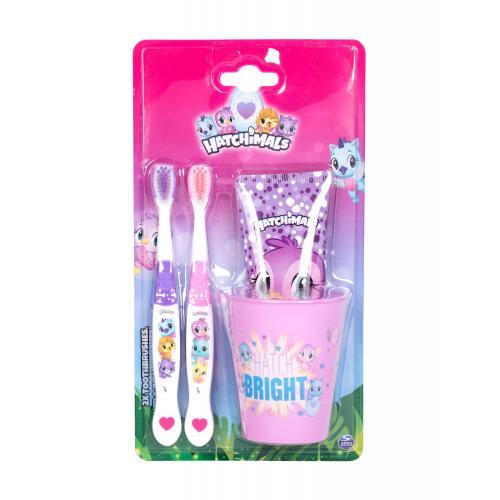 Hatchimals Hatchimals Set darčeková kazeta pre deti zubná kefka 2 ks + zubná pasta 75 ml + kelímok na zubnú kefku