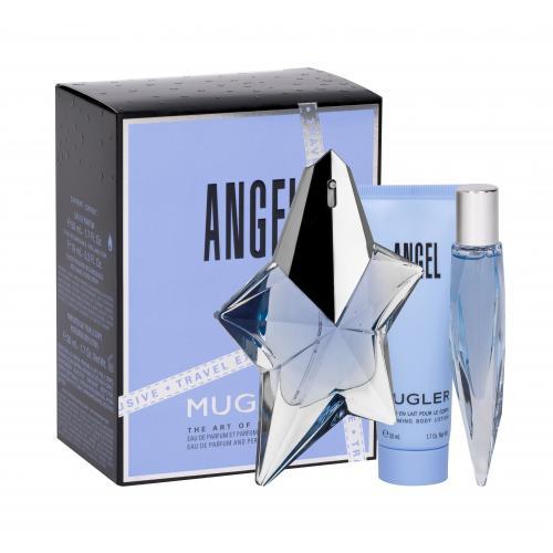 Thierry Mugler Angel darčeková kazeta Naplniteľný pre ženy parfumovaná voda 50 ml + parfumovaná voda 10 ml + telové mlieko 50 ml