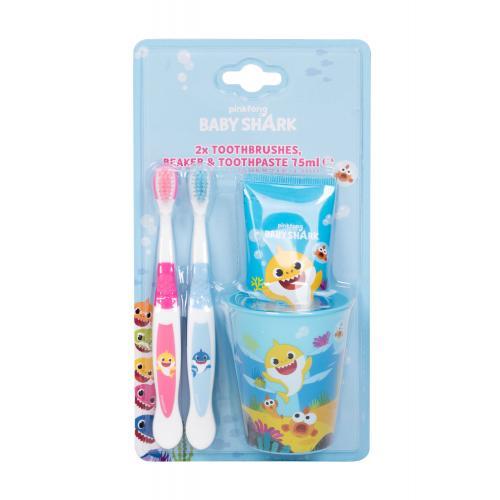 Pinkfong Baby Shark Set darčeková kazeta pre deti zubná kefka 2 ks + zubná pasta 75 ml + kelímok na zubnú kefku