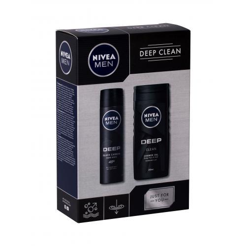 Nivea Men Deep Clean poškodená krabička pre mužov sprchovací gél 250 ml + antiperspirant sprej 150 ml