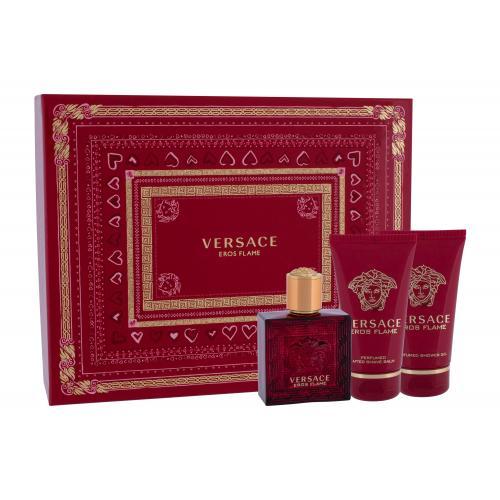 Versace Eros Flame darčeková kazeta pre mužov parumovaná voda 50 ml + balzam po holení 50 ml + sprchovací gél 50 ml