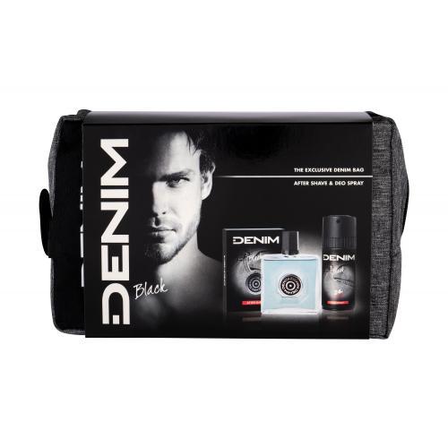 Denim Black darčeková kazeta pre mužov voda po holení 100 ml + dezodorant 150 ml + kozmetická taška