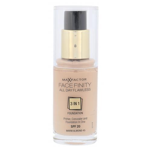 Max Factor Facefinity 3 in 1 SPF20 30 ml tekutý make-up s uv ochranou pre ženy 45 Warm Almond