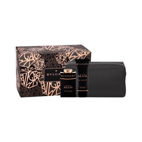 Bvlgari Man In Black darčeková kazeta poškodená krabička pre mužov parfumovaná voda 100 ml + balzam po holení 100 ml + kozmetická taška