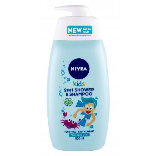 Nivea Kids 2in1 Shower & Shampoo Magic Apple Scent 500 ml jemný sprchovací gél a šampón 2v1 pre deti