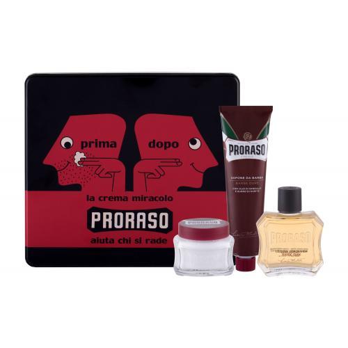 PRORASO Red After Shave Lotion darčeková kazeta pre mužov voda po holení 100 ml + krém na holenie 150 ml + krém pred holením 100 ml + plechová dóza