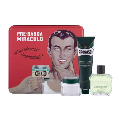 PRORASO Green After Shave Lotion darčeková kazeta pre mužov voda po holení 100 ml + krém na holenie 150 ml + krém pred holením 100 ml + plechová dóza