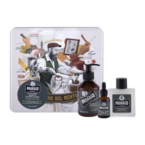 PRORASO Cypress & Vetyver Beard Wash darčeková kazeta pre mužov šampón na fúzy 200 ml + balzam na fúzy 100 ml + olej na fúzy 30 ml + plechová dóza