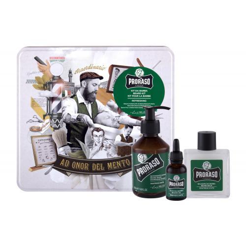 PRORASO Eucalyptus Beard Wash darčeková kazeta pre mužov šampón na fúzy 200 ml + balzam na fúzy 100 ml + olej na fúzy 30 ml + plechová dóza