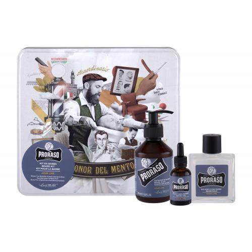 PRORASO Azur Lime Beard Wash darčeková kazeta pre mužov šampón na fúzy 200 ml + balzam na fúzy 100 ml + olej na fúzy 30 ml + plechová dóza