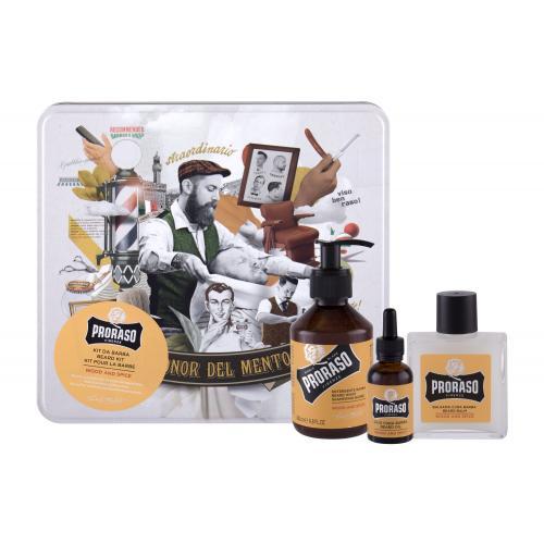 PRORASO Wood & Spice Beard Wash darčeková kazeta pre mužov šampón na fúzy 200 ml + balzam na fúzy 100 ml + olej na fúzy 30 ml + plechová dóza