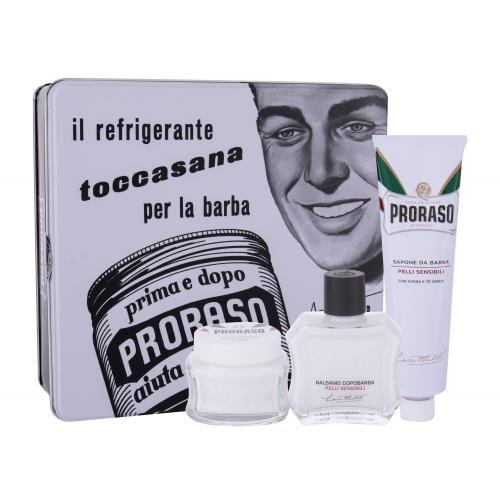 PRORASO White After Shave Balm Kit darčeková kazeta pre mužov balzam po holení 100 ml + mydlo na holenie 150 ml + krém pred holením 100 ml + plechová dóza