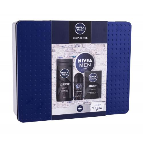 Nivea Men Deep Active darčeková kazeta pre mužov voda po holení Men Deep Comfort 100 ml + sprchový gél Men Deep 250 ml + antiperspirant roll-on Men Deep 50 ml + univerzálny krém Men Creme 150 ml + plechová krabička