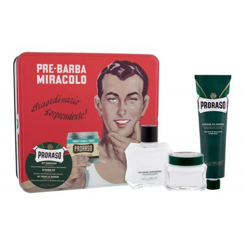 PRORASO Green darčeková kazeta pre mužov balzam po holení Green 100 ml + krém na holenie Green 150 ml + krém pred holením Green 100 ml + plechová dóza