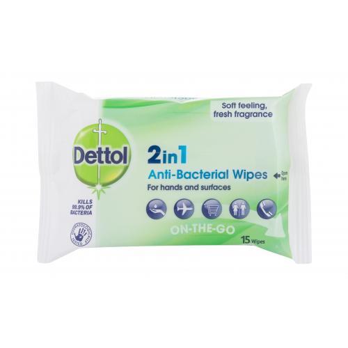 Dettol Antibacterial 2in1 15 ks antibakteriálne utierky na ruky a povrchy unisex