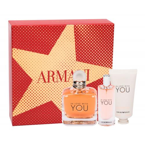 Giorgio Armani Emporio Armani In Love With You darčeková kazeta poškodená krabička pre ženy parfumovaná voda 100 ml + parfumovaná voda 15 ml + krém na ruky 50 ml