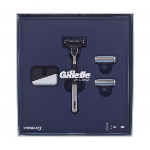 Gillette Mach3 darčeková kazeta pre mužov holiaci strojček s jednou hlavicou Mach3 1 ks + náhradné hlavice Mach 3 2 ks + držiak na holiaci strojček