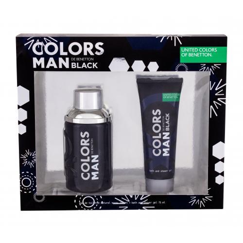 Benetton Colors Black darčeková kazeta poškodená krabička pre mužov toaletná voda 100 ml + sprchovací gél 75 ml