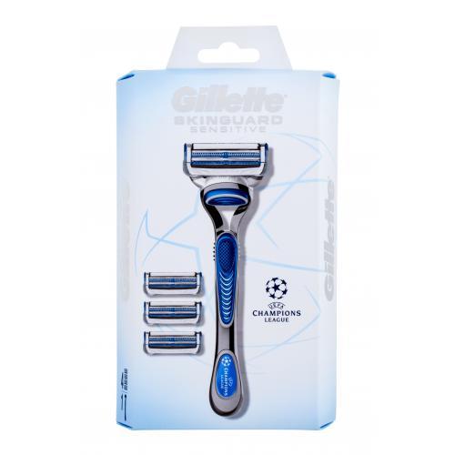 Gillette Skinguard Sensitive Champions League holiaci strojček s náhradnými hlavicami pre mužov holiaci strojček s jednou hlavicou 1 ks + náhradné hlavice 3 ks