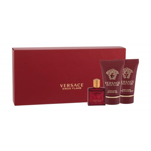 Versace Eros Flame darčeková kazeta pre mužov parfumovaná voda 5 ml + balzam po holení 25 ml + sprchovací gél 25 ml miniatura