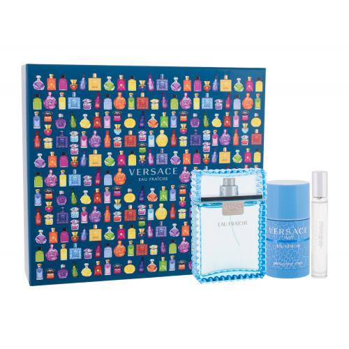 Versace Man Eau Fraiche darčeková kazeta pre mužov toaletná voda 100 ml + toaletná voda 10 ml + deostick 75 ml