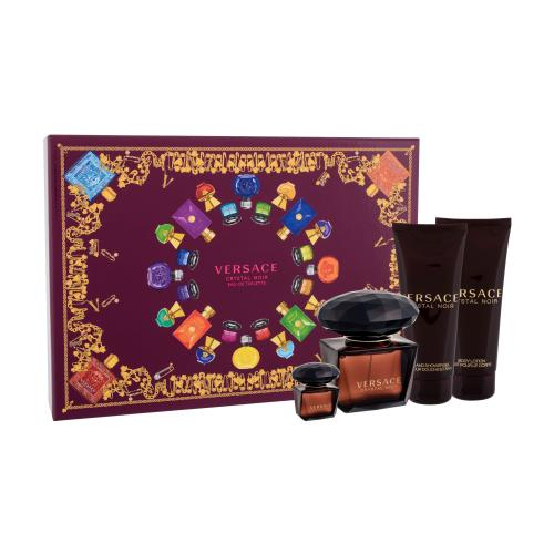 Versace Crystal Noir darčeková kazeta pre ženy edt 90ml + 100ml telové mlieko + 100ml sprchovací gél + 5ml Edt