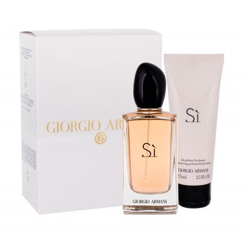 Giorgio Armani Sì darčeková kazeta poškodená krabička pre ženy parfumovaná voda 100 ml + telové mlieko 75 ml