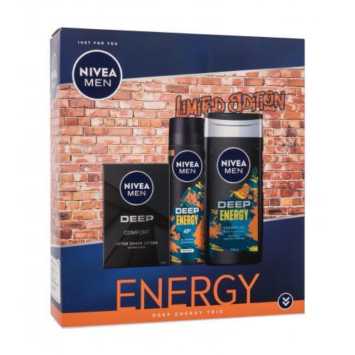 Nivea Men Deep Deep Energy Trio darčeková kazeta pre mužov voda po holení Men Deep 100 ml + sprchovací gél Men Deep Energy 250 ml + antiperspirant Men Deep Energy 150 ml