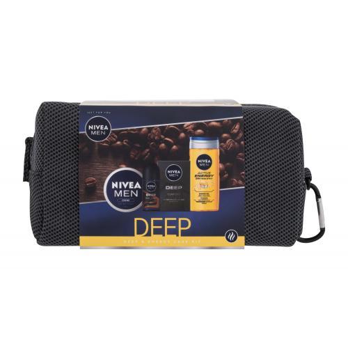 Nivea Men Deep Deep & Energy Care Kit darčeková kazeta pre mužov voda po holení Men Deep 100 ml + sprchovací gél Men Active Energy 250 ml + antiperspirant roll-on Men Deep Espresso 50 ml + univerzálny krém Men Gel Creme 150 ml + kozmetická taštička