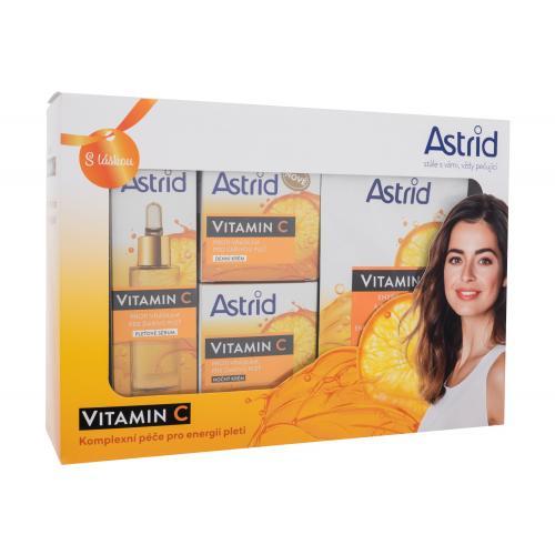 Astrid Vitamin C darčeková kazeta proti vráskam pre ženy pleťové sérum Vitamin C Serum 30 ml + denný pleťový krém Vitamin C Day Cream 50 ml + nočný pleťový krém Vitamin C Night Cream 50 ml + textilná pleťová maska Vitamin C Energizing Textile Mask 20 ml