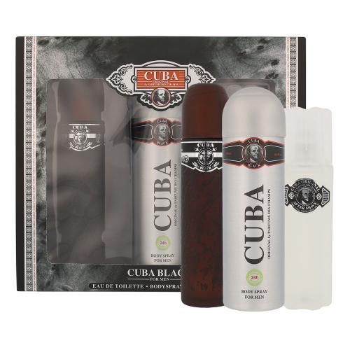 Cuba Black darčeková kazeta poškodená krabička pre mužov toaletná voda 100 ml + voda po holení 100 ml + dezodorant 200 ml