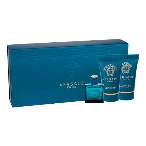 Versace Eros darčeková kazeta pre mužov toaletná voda 5 ml + sprchovací gél 25 ml + balzam po holení 25 ml miniatura