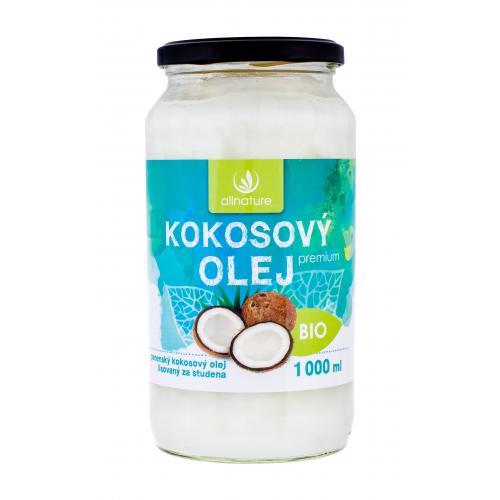 Allnature Premium Bio Coconut Oil 1000 ml kokosový olej pre kvalitnú výživu a regeneráciu unisex