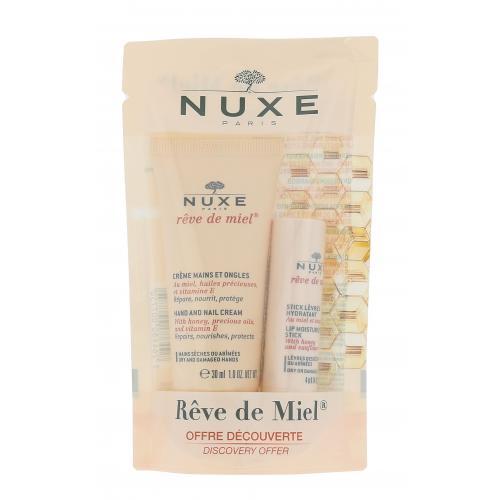 NUXE Rêve de Miel darčeková kazeta pre ženy krém na ruky a nehty 30 ml + balzam na pery v tyčinke 4 g