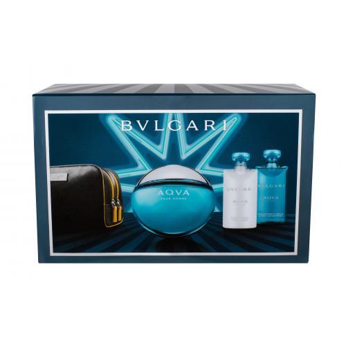 Bvlgari Aqva Pour Homme darčeková kazeta pre mužov toaletná voda 100 ml + sprchovací gél 75 ml + balzam po holení 75 ml + kozmetická taška