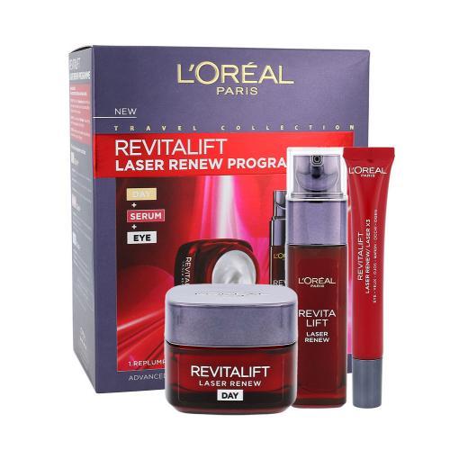 L´Oréal Paris Revitalift Laser Renew darčeková kazeta proti vráskam pre ženy denná pleťová starostlivosť 50 ml + pleťové sérum 30 ml + očný krém 15 ml